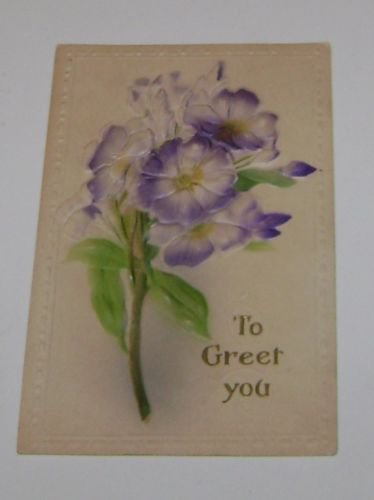 "Vintage Postcard ""To Greet You"" Embossed Purple FLowers"