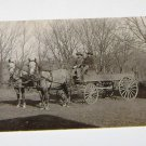 Vintage Postcard Two Horses Pulling Wagon Dated 1909
