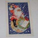 "Vintage Postcard ""A World Of Joy"" Santa Riding Earth"