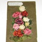 Vintage Postcard Bouquet of Multi Colored Roses & Love Poem
