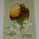 """Vintage Postcard """"Happiness Be Yours"""" Dutch Windmill"""