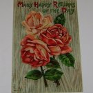 """Vintage Postcard """"Many Happy Returns of Day"""" Red Roses w Stems"""