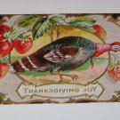 Vintage Postcard Thanksgiving Joy Colorful Turkey & Strawberries