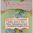 """Vintage Postcard """"Remembrance""""  Blue Forget Me Nots"""