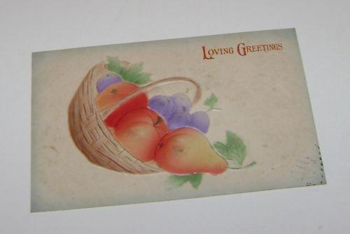 Vintage Postcard Loving Greetings Fruit Basket