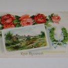 """Vintage Postcard Roses & Rural Scene """"Kind Regards"""""""