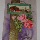 "Vintage Postcard ""With Affection"" Roses & Rural Scene Embossed"