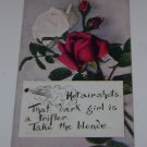 """Vintage Postcard Red & White Roses """"Comedy Quote"""""""