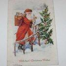 "Vintage Postcard ""Christmas Wishes"" Non Traditional Santa Art"