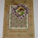 """Vintage Postcard """"A Happy Birthday"""" Fold out Mini Booklet Attachment"""