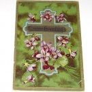 """Vintage Postcard """"Easter Greetings"""" Cross w/ Purple Flowers PM'd 1910"""