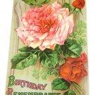 "Vintage Postcard ""Birthday Remembrance""  Roses"