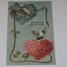 "Vintage Postcard ""Birthday Greetings"" 2 Doves and 2 Hearts of Flowers"