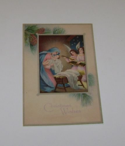 "Vintage Postcard ""Christmas Wishes"" Mary W Jesus Angels Playing Music"