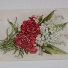 Vintage Postcard Floral Arrangement Red & White