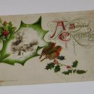 "Vintage Postcard ""A Joyful Christmas "" Mistletoe & Wrens imbed Rural Scene"