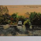 Vintage Postcard Evening Scene Riverside Park Watertown Wisconsin