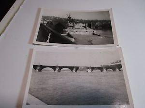 (2) Vintage Postcard World War 2 Bridge Bombing Damage