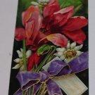 "Vintage Postcard ""Birthday Greetings"" Red Lilies Purple Bow"