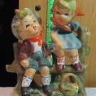 Vintage Erich Stauffer ?? Figurine  Boy & Girl On Wooden Fence