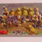 "Vintage Postcard ""Happy Easter To You"" Many Chicks & Red Eggs"