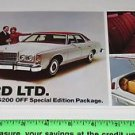 FORD LTD 1978 Auto Promotional Dealer Card