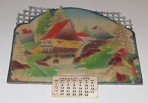 Mill & Water Mill Stream Mountain Scene w/ Birds Embossed Calendar 1958