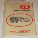 GEHL COMPANY BU 810 SELF-UNLOADING FORAGE BOX OWNERS MANUAL FORM NO.620150