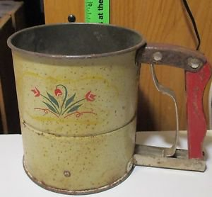 Antique ANDROCK HAND-i-SIFT FLOUR SIFTER wooden handle