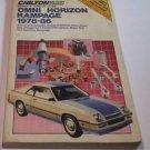 Chilton 1978-1989 Dodge Omni Horizon Rampage Repair Manual