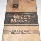 GMC Owners Drivers Manual Series 53 - 71 Diesel Models 1965