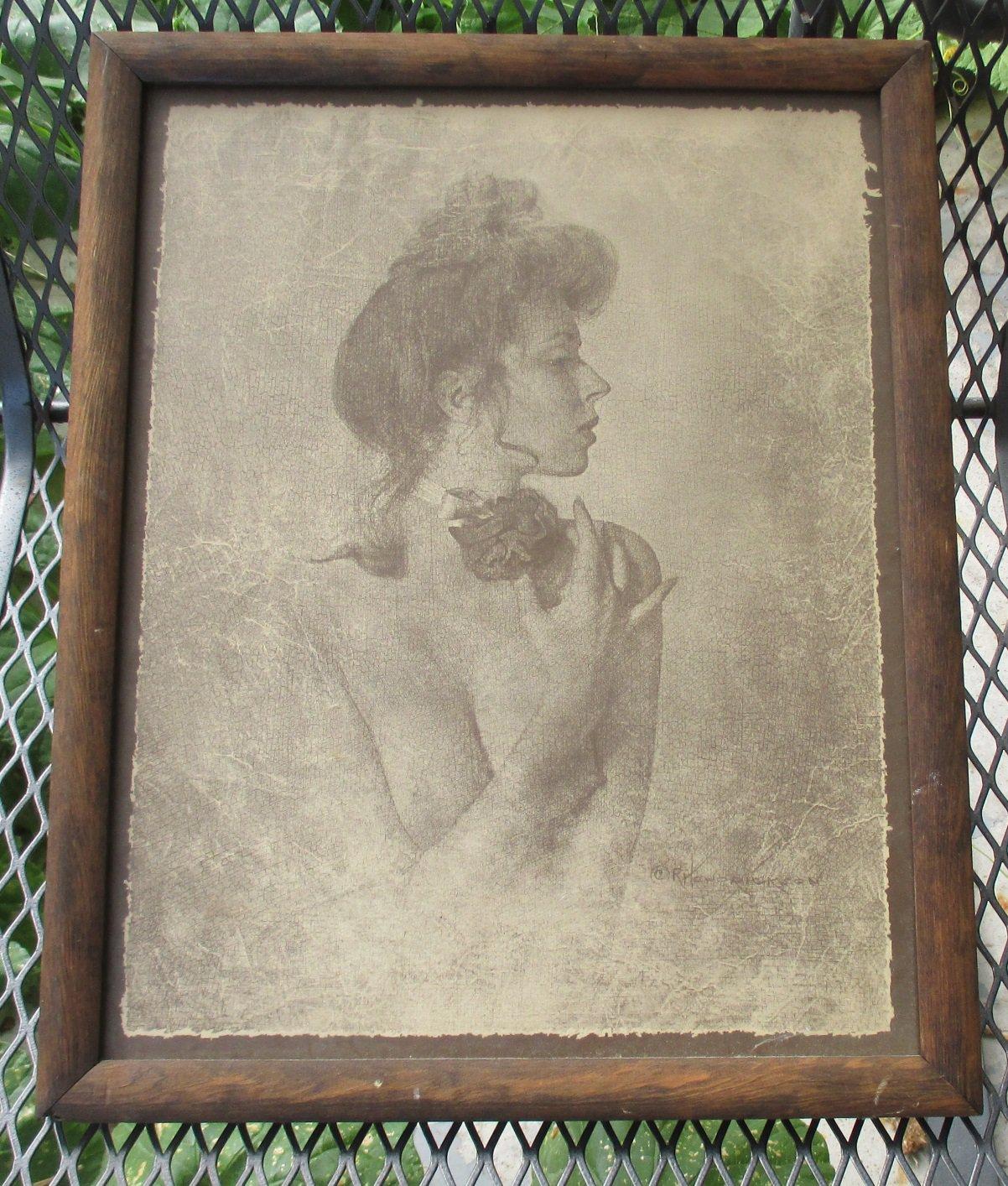 R. Hendrickson Art Print Sepia Wooden Framed, Topless Lady wearing collar
