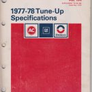 AC-Delco 1977-78Domestic and Import Tune-Up Specifications SD-100A