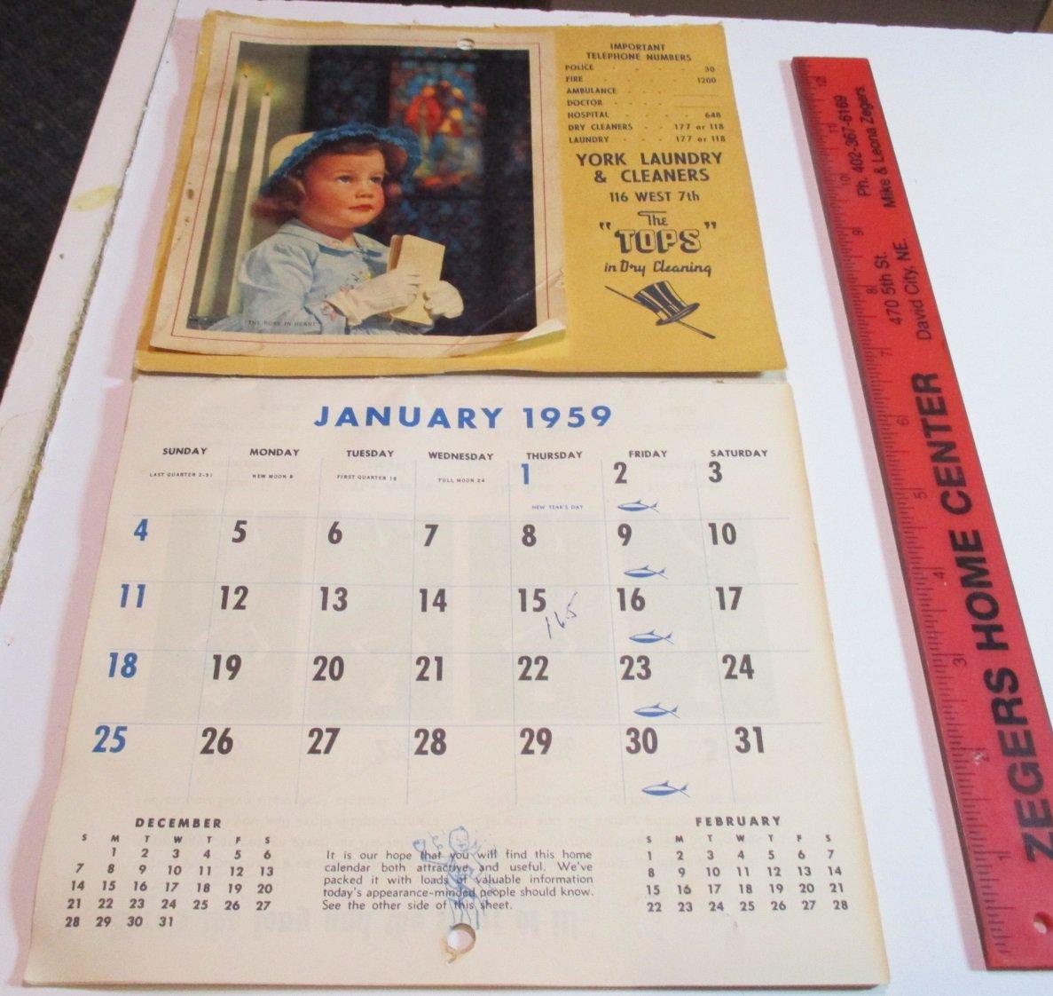 1959 Calendar York Laundry York Nebraska