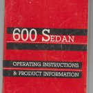 1985 Dodge 600 Sedan Owner's Manual (Operating Instructions and Product Information