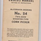 IH manual mccormick deering no 24 two row mounted type corn picker