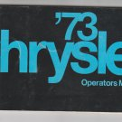 1973 Chrysler Owners Manual