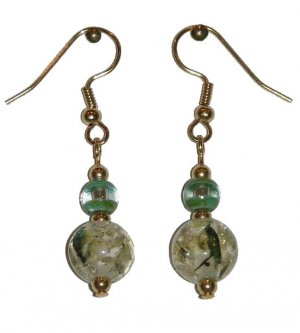 Patterned Clear/Green Speckled Glass with Green/Clear Glass Top Bead Gold Earrings