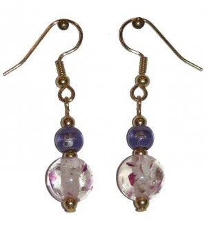 Patterned Clear/Pink Speckled Glass with Violet/Clear Glass Top Bead Gold Earrings