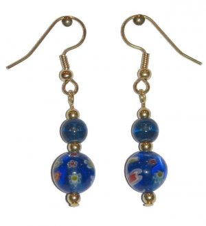 Patterned Blue Glass with Blue/Clear Glass Top Bead Gold Earrings