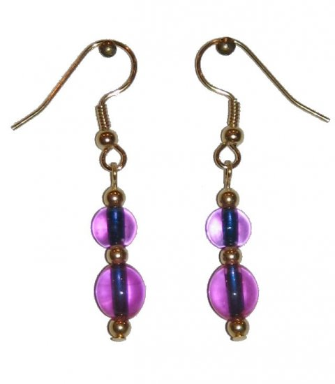 Clear Pinkish Violet Glass with Clear Pinkish Violet Glass Top Bead Gold Earrings