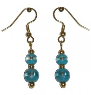 Patterned Turquoise & Clear Glass with Turquoise/Clear Top Bead Gold Earrings