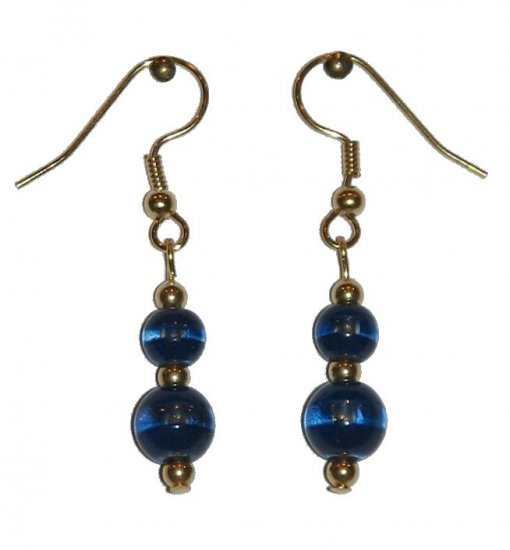 Patterned Blue & Clear Glass with Blue/Clear Top Bead Gold Earrings