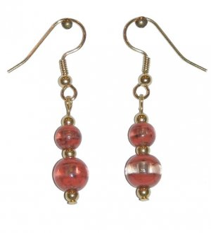 Patterned Red-Orange & Clear Glass with Red-Orange/Clear Top Bead Gold Earrings