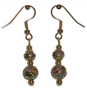 Pink w/Gold plating Cloisonné with 1 8MM & 1 6MM Beaded Gold Earrings