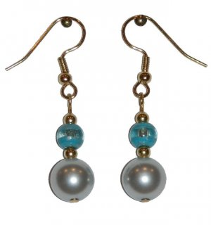 Silvery Light Blue w/small turquoise/clear Gold Earrings