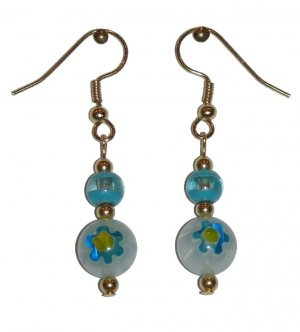 Patterned White w/Blue & Yellow Glass with Turquoise/Clear Top Bead Gold Earrings