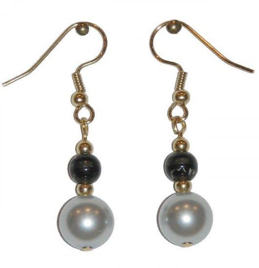 SIlvery Light Blue glass w/small Black/clear gold earrings