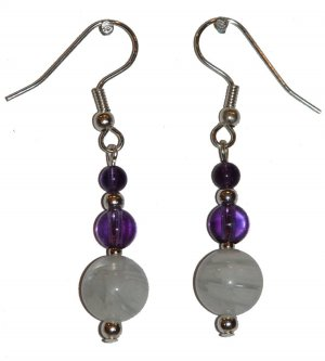 White Marbled Stone with med Clear Violet and small Violet top Silver Earrings