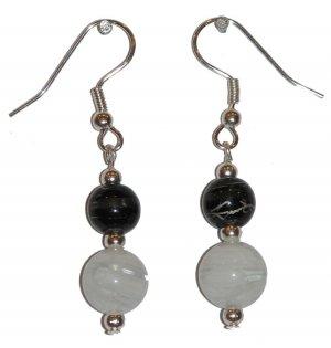 White/Clear Swirled w/med Black/clear Silver Earrings